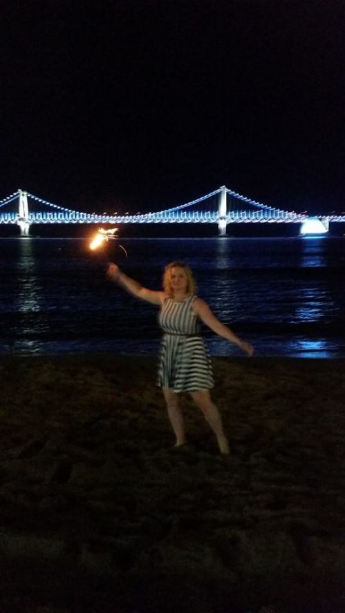 Playing with sparklers on Gwangalli Beach