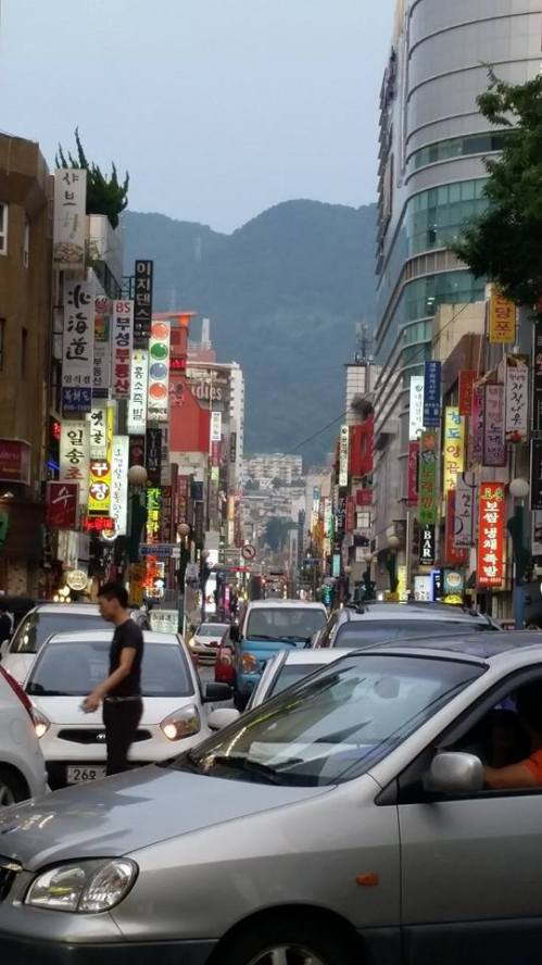 a busy street in Busan near our hostel